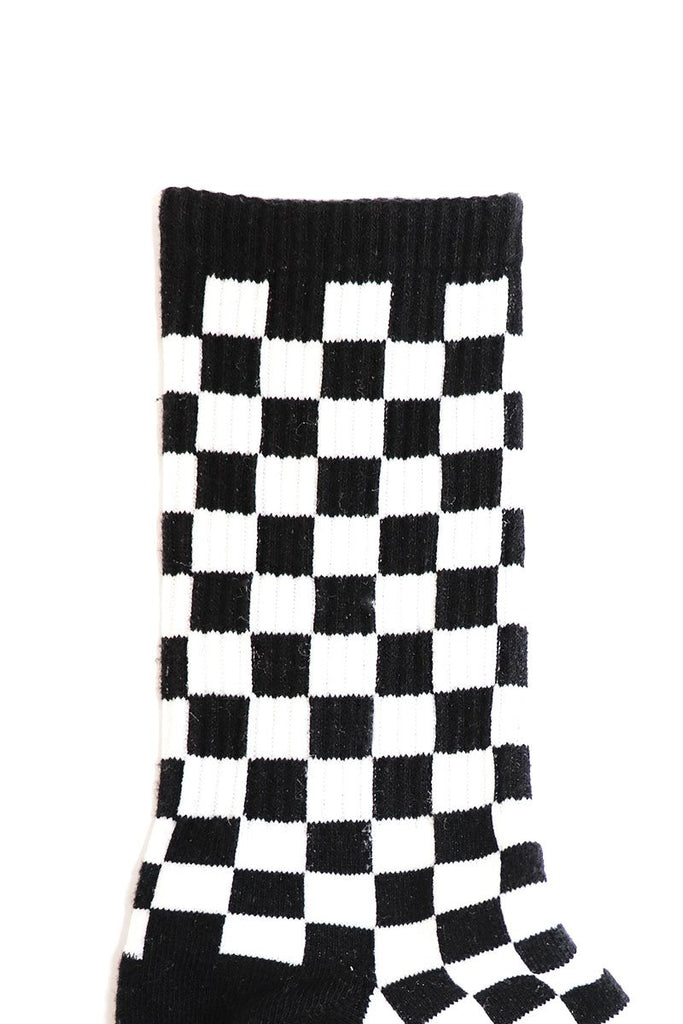 Checkboard Socks- Black