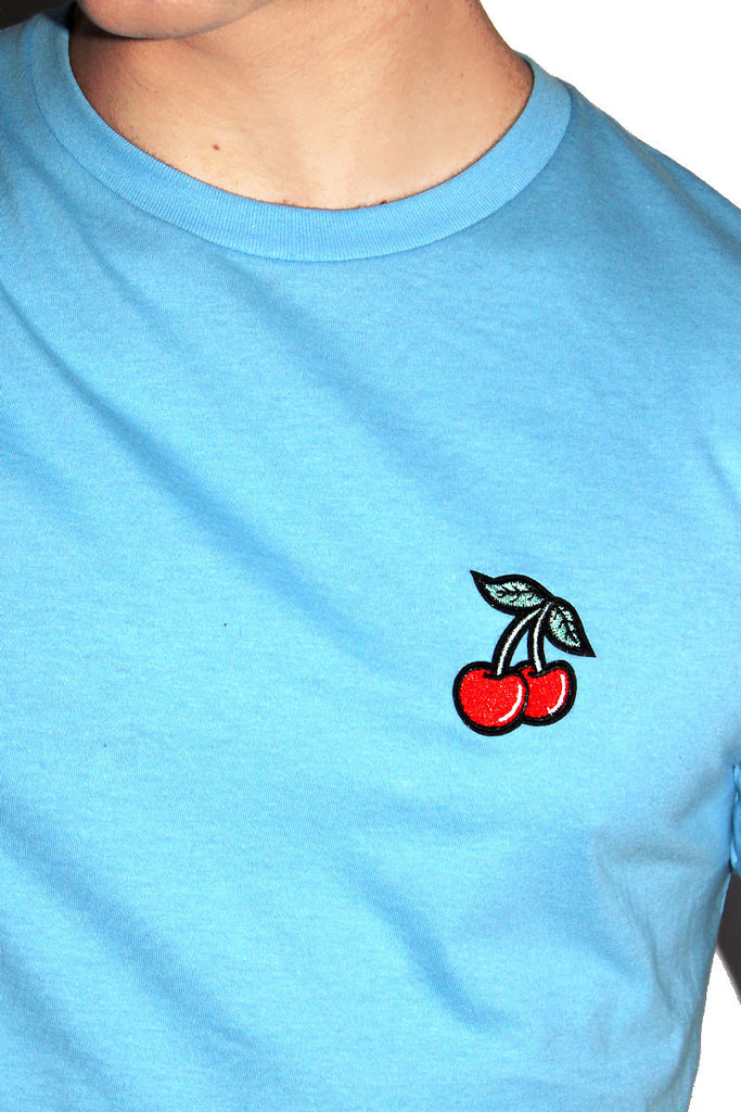 Cherries Crop Tee- Blue