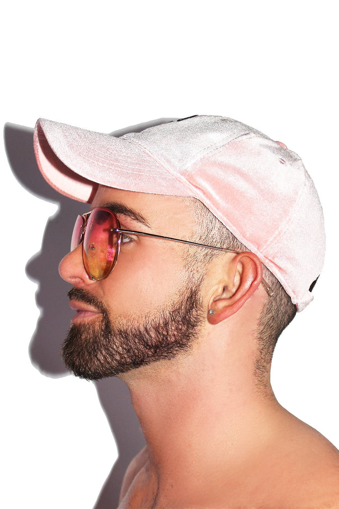 Cherry Velvet Dad Hat-Pink