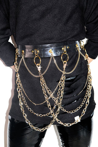 Vinyl Chained Belt-Gold