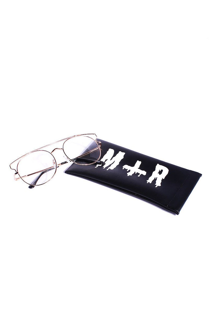 Clear Framed Round Sunglasses- Silver