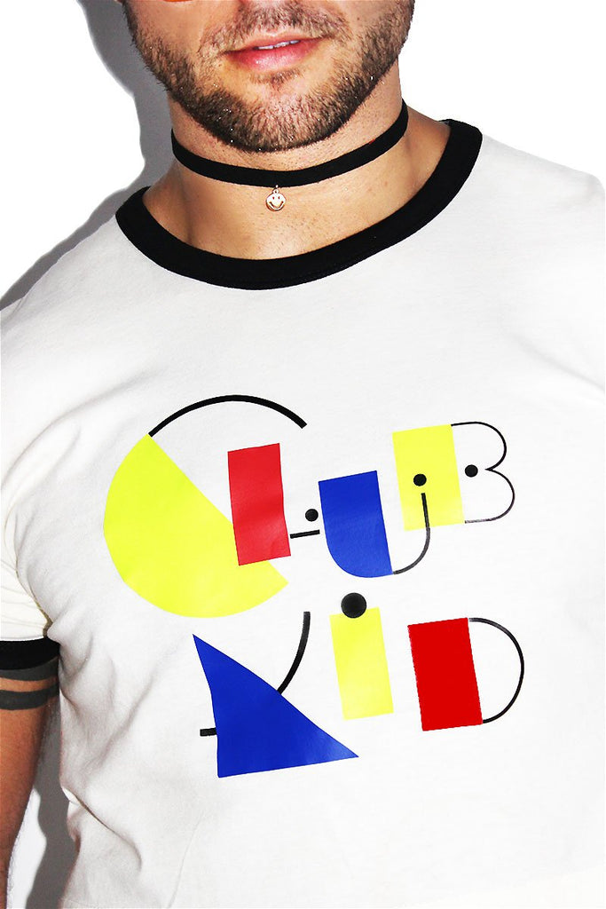 Club Kid Ringer Crop Tee-Natural