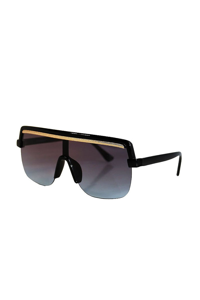 Gold Rope Flat Top Sunglasses- Black