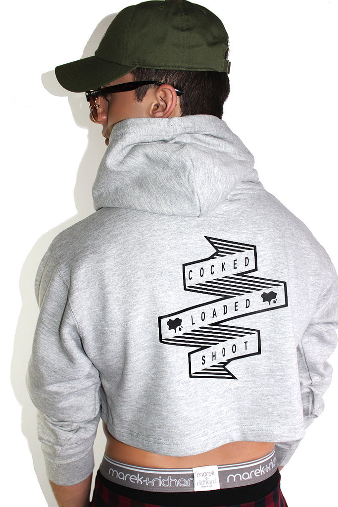 Cocked and Loaded Crop Long Sleeve Hoodie-Grey
