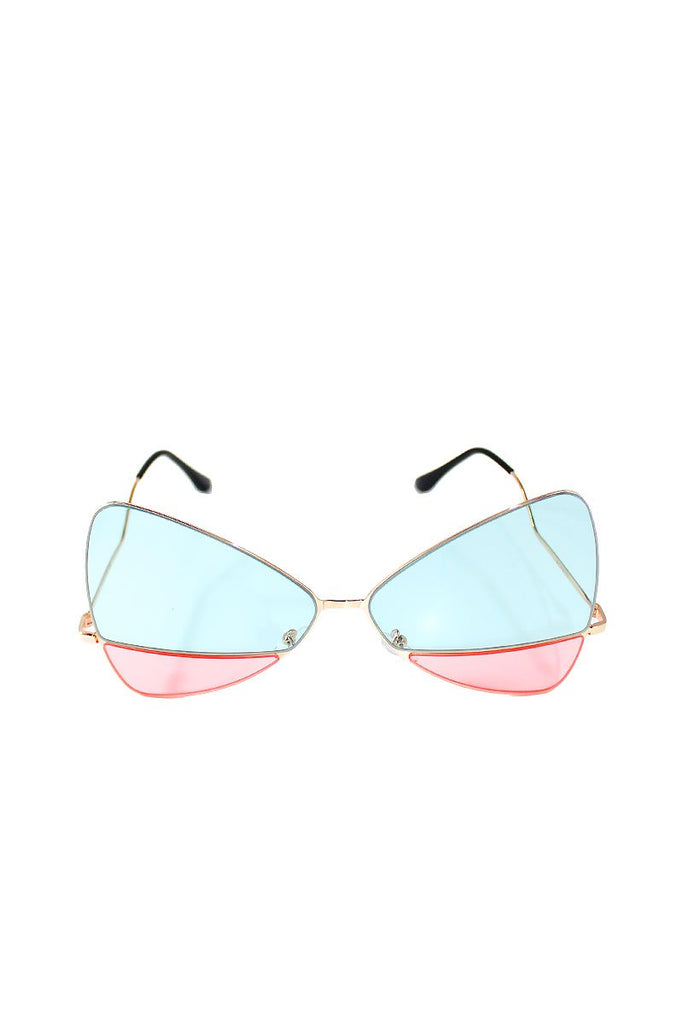 Foxy Two-Toned Sunglasses-Blue