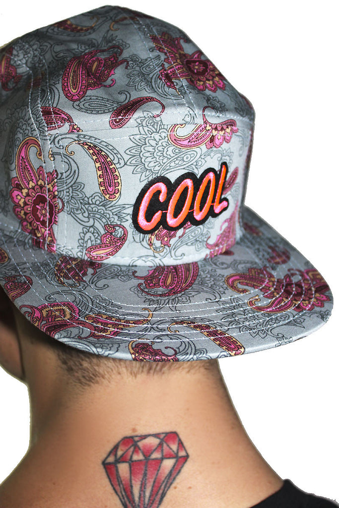 Cool Paisley 5 Panel Hat- Pink