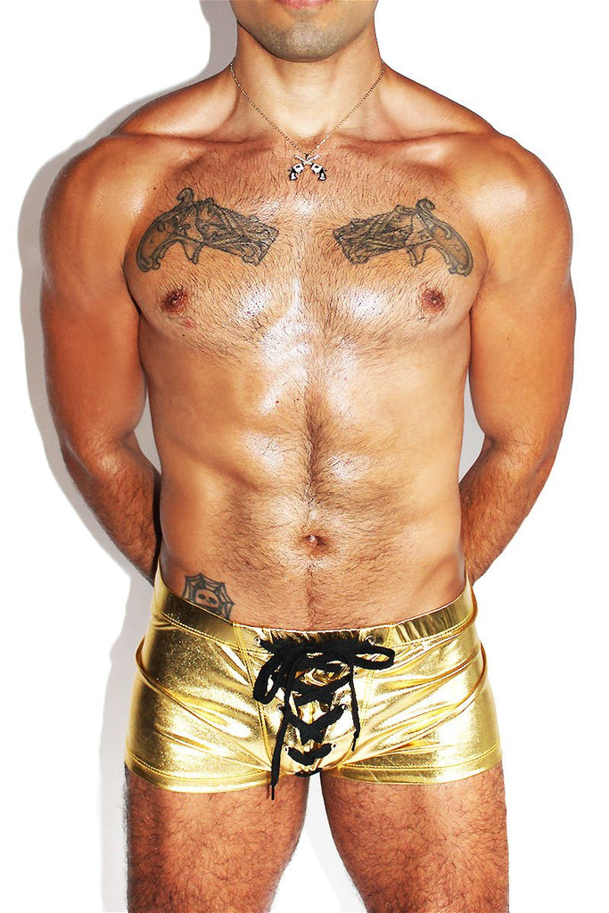 Corn Fed Metallic Laceup Trunks-Gold