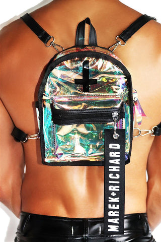 Don't Cross Me Holographic Mini Backpack-Black