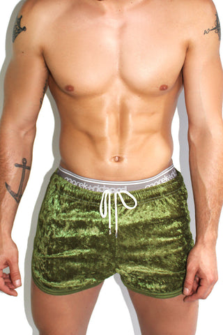 Crushed Velvet Running Shorts- Green