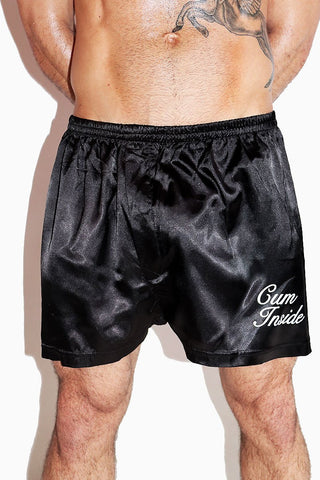 Cum Inside Satin Lounge Shorts- Black