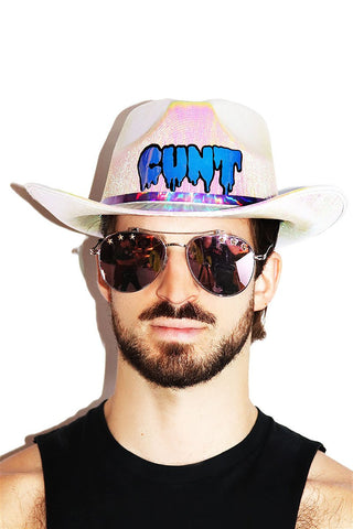 Cunt iridescent Cowboy Hat-White