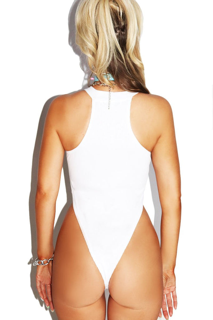 Cunt High Cut Bodysuit-White