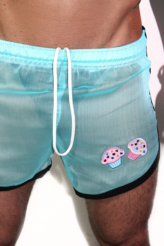 Cupcake Mesh Running Shorts-Blue