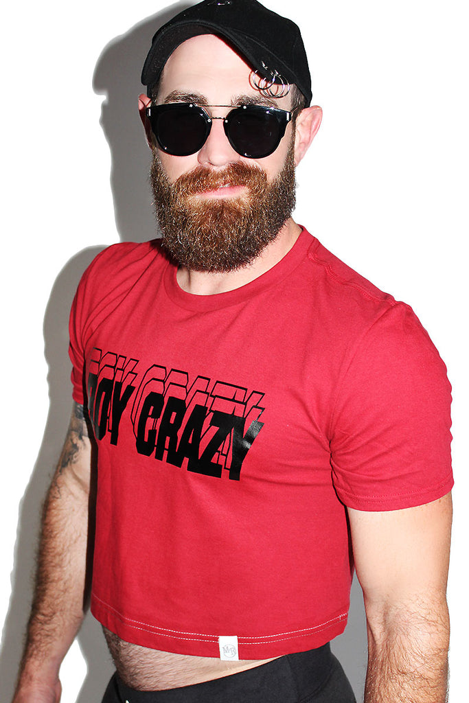 Boy Crazy Crop Tee- Red