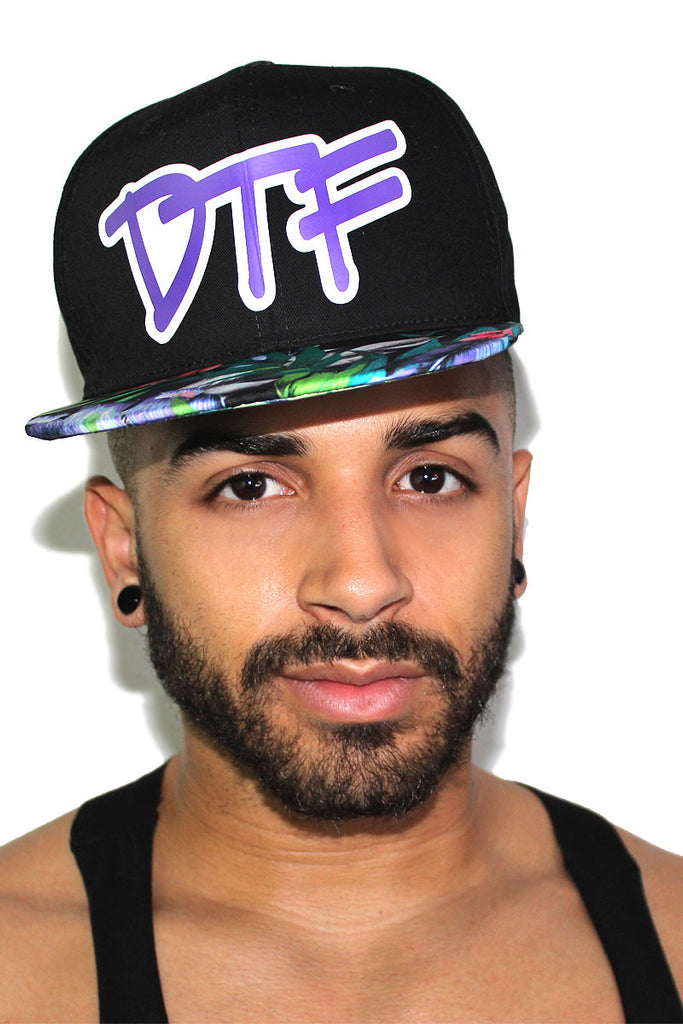 DTF Floral Snap Back Hat-Purple