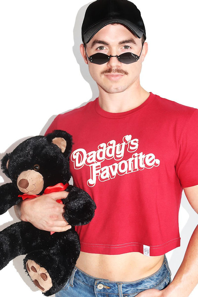 Daddy's Favorite Crop Tee-Red