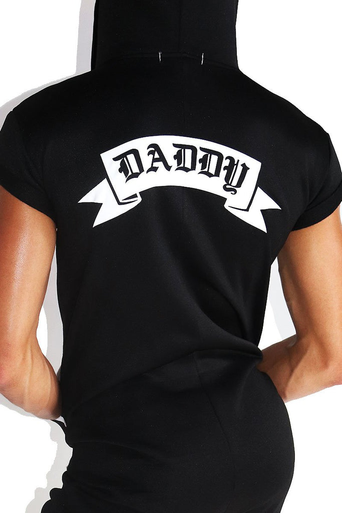 Daddy Short Sleeve Union Suit Onesie- Black