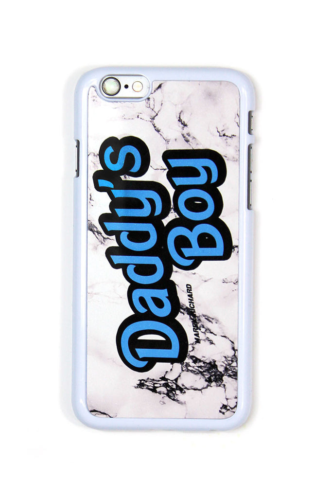 Daddy's Boy Marble Phone Case- White