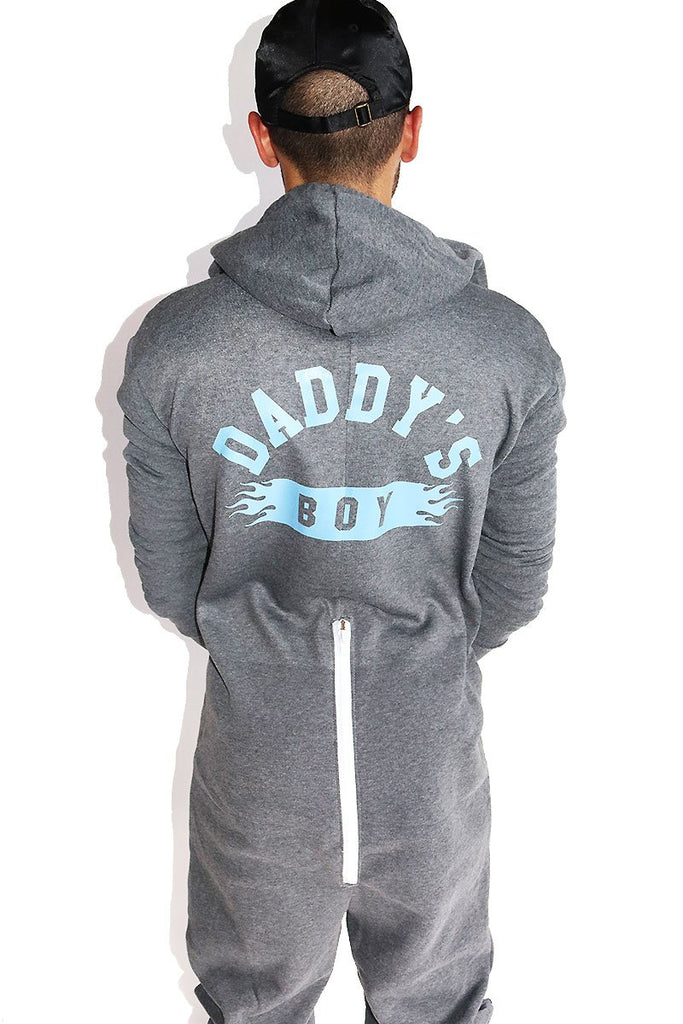 Daddy's Boy Long Sleeve Union Suit Onesie- Grey