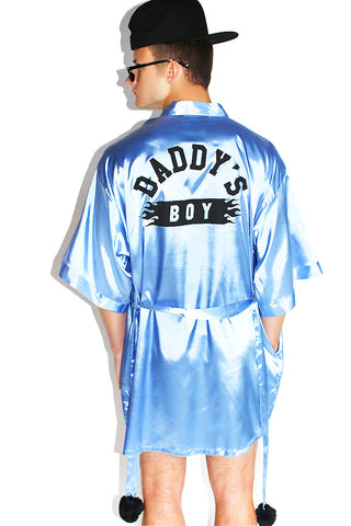Daddy's Boy Lounge Robe-Light Blue