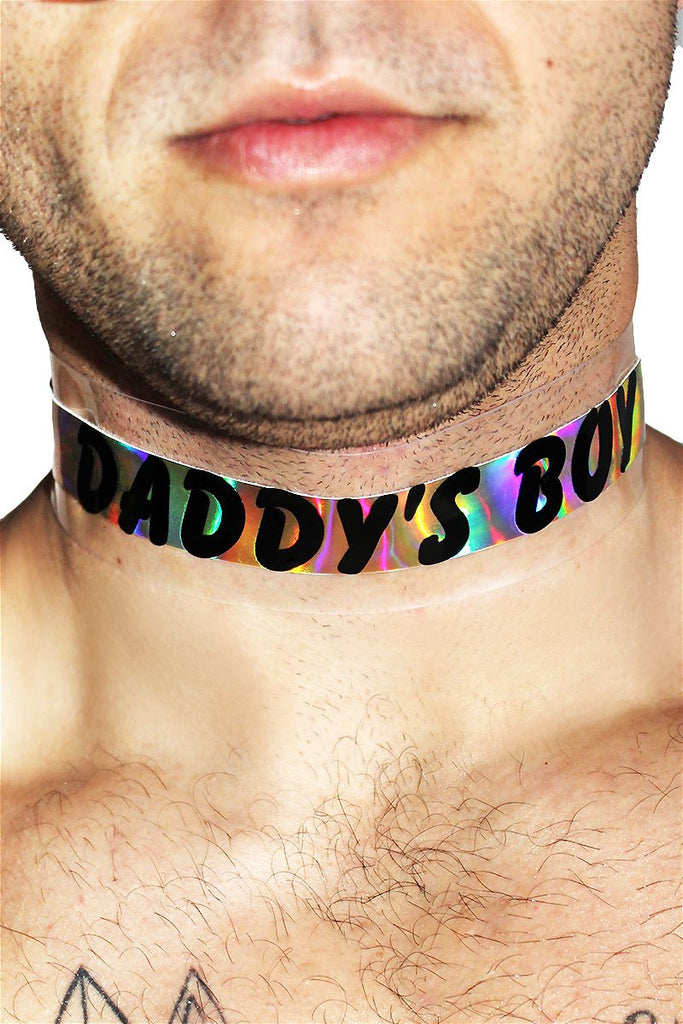 Daddy's Boy Vinyl Holographic Choker-Gold
