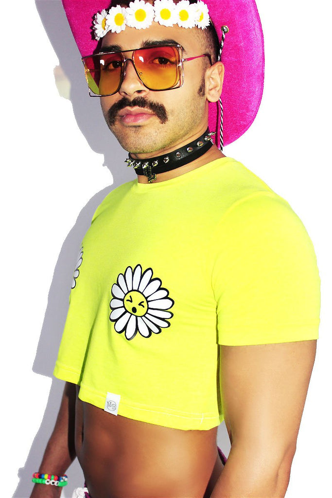 Daisies Pasties Crop Tee- Neon Yellow