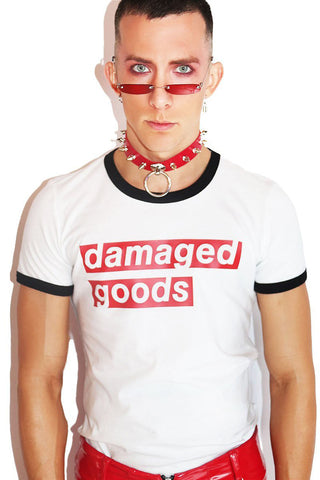 Damaged Goods Ringer Tee- White