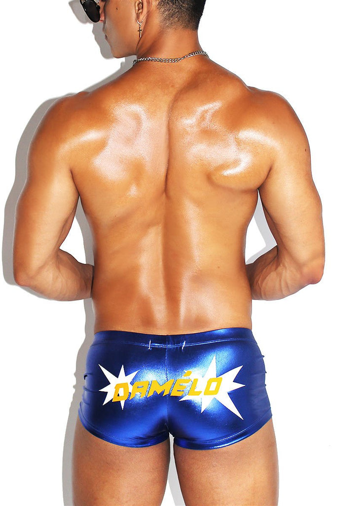 Damelo Metallic Laceup Trunks-Blue