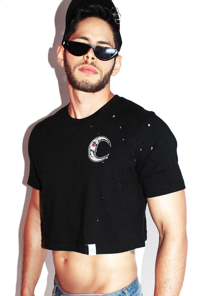 Dark Moon Destroyed Crop Tee-Black