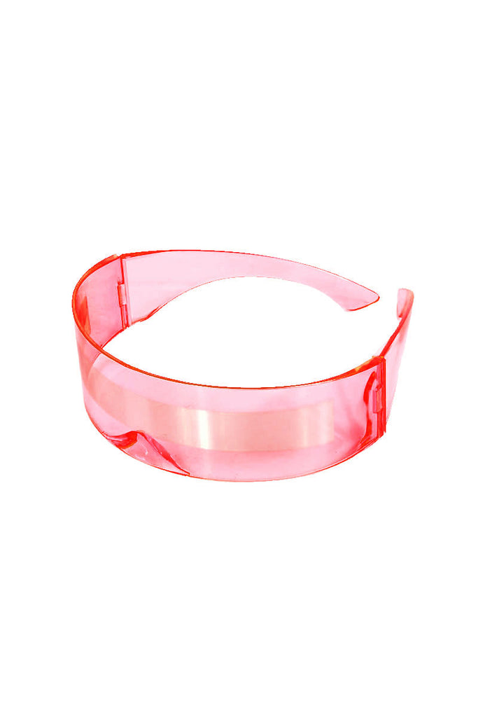 Stripe Clear Mono Sunglasses-Pink