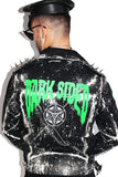 Dark Sided Moto Denim Jacket-Black