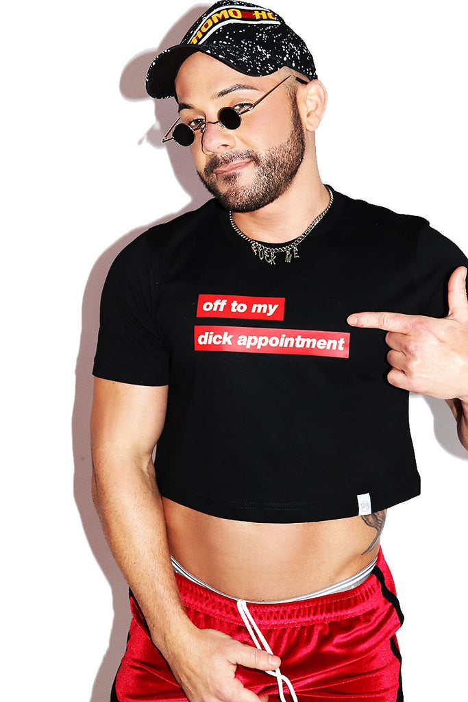 Dick Appointment Crop Tee- Black