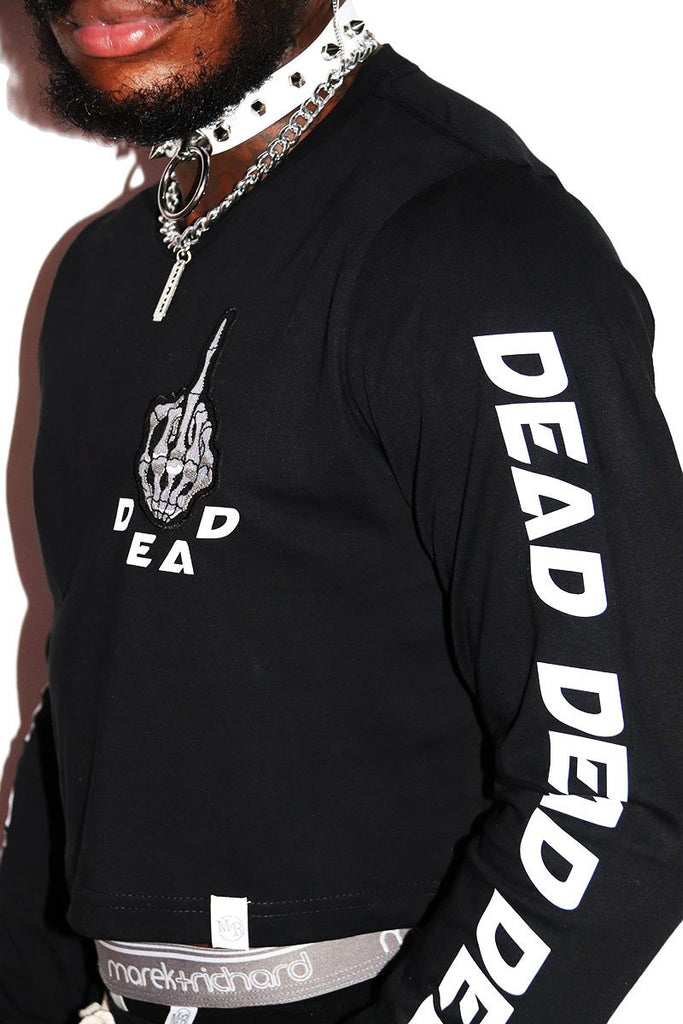 Dead Long Sleeve Crop Tee- Black