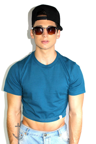 Core Crop Tee-Sky Blue