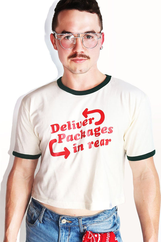 Deliver Packages Crop Ringer Tee- Cream