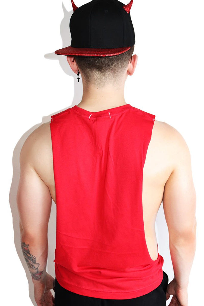 Demonic Cutout Low Arm Tank-Red