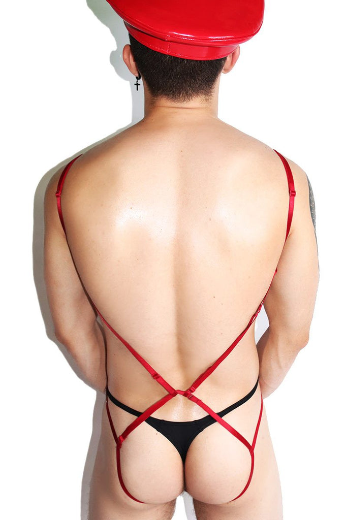 Sexual Deviant Elastic Body Harness-Red