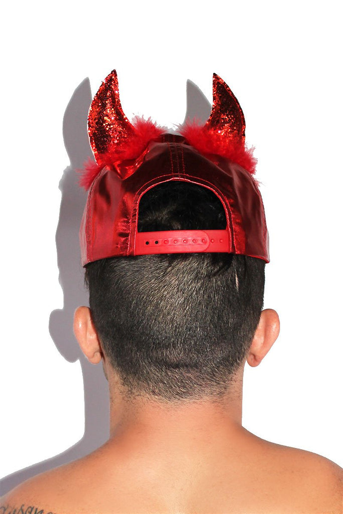 Devil Horns Metallic Snapback Hat- Red
