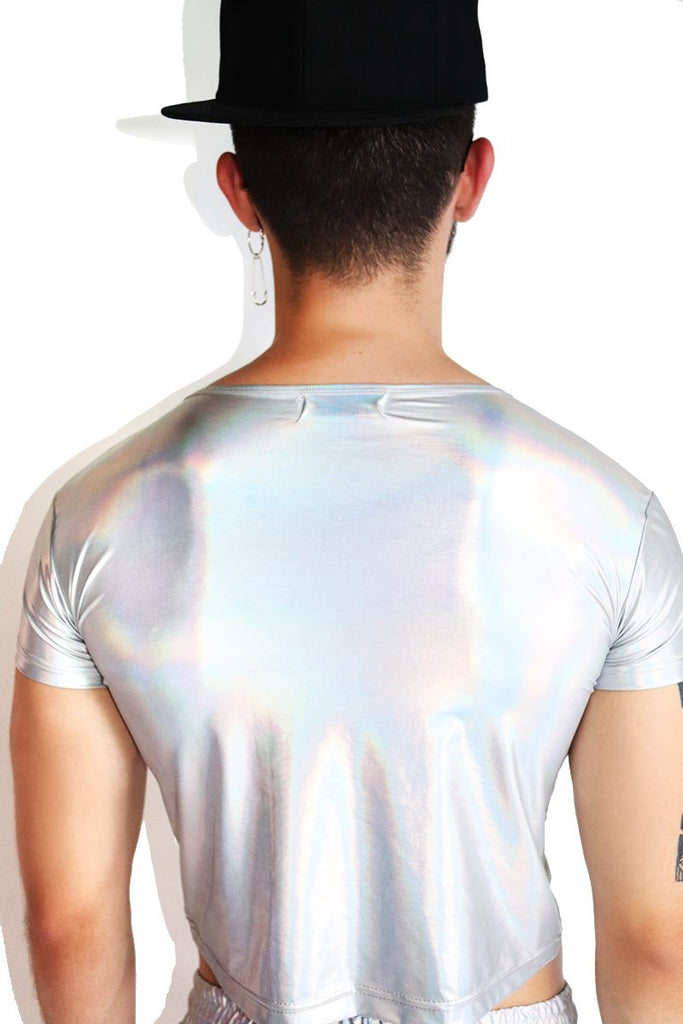 Devil's Mark Holographic Crop Tee-Silver