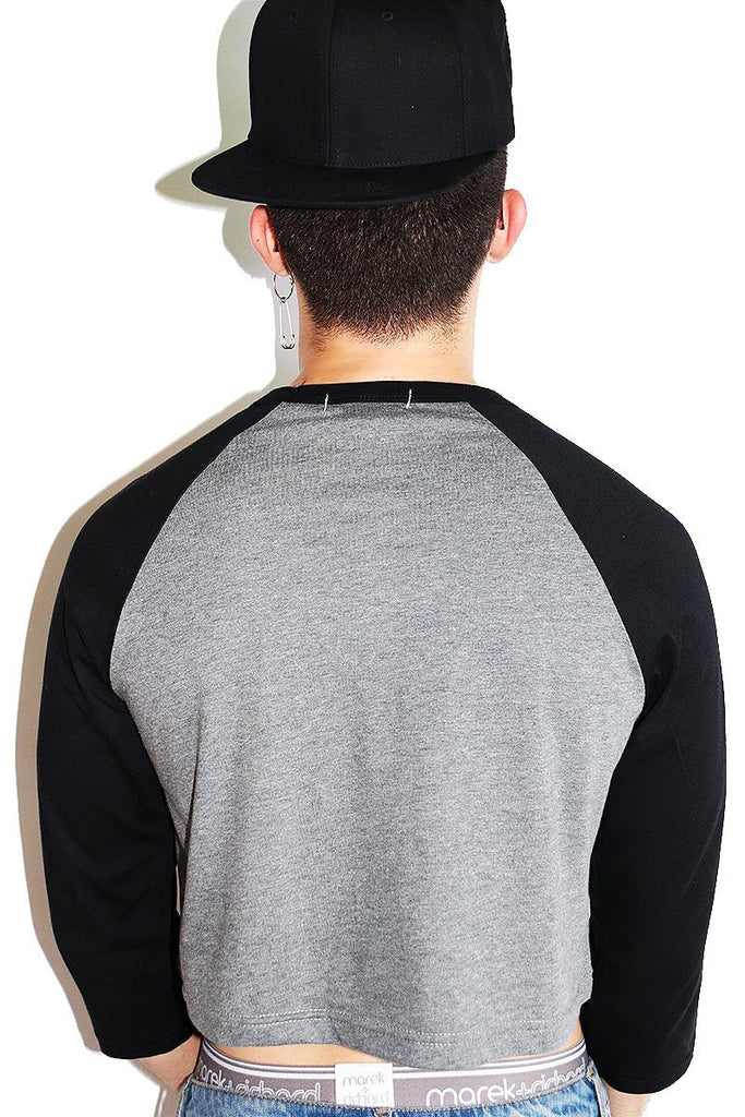 Devil's Werk Long Sleeve Raglan Crop Tee-Black