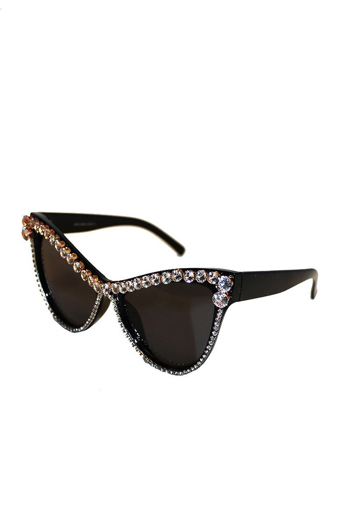 Hollywood Rhinestone Oversize Sunglasses-Black
