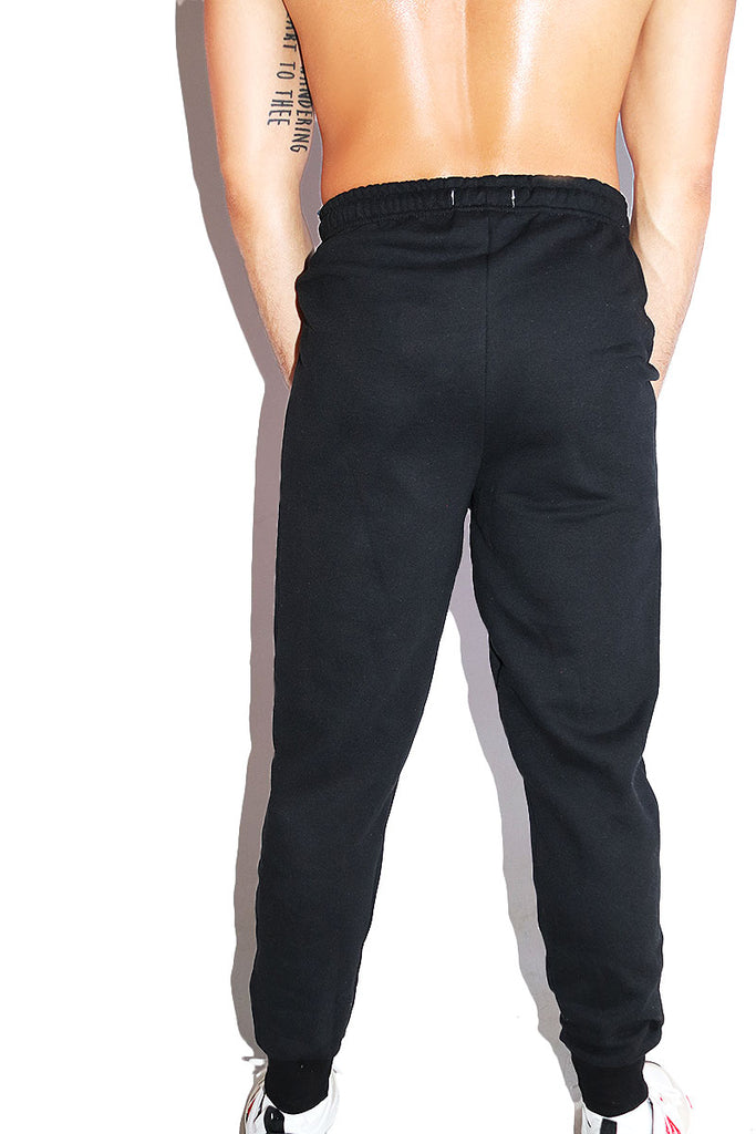 Dicked Down High Waist Sweatpants-Black