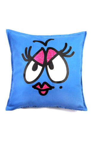 Drag Face Throw Pillow-Blue