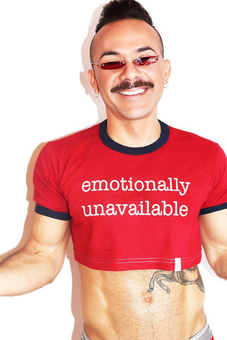 Emotionally Unavailable Ringer Extreme Crop Tee- Red