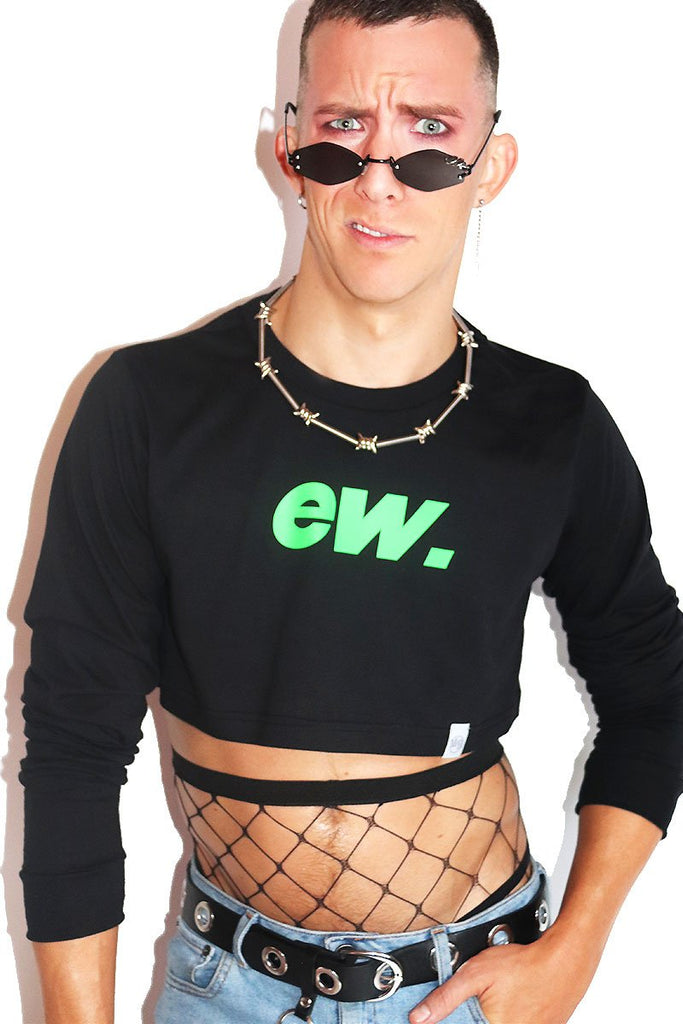 EW. Long Sleeve Crop Tee- Black
