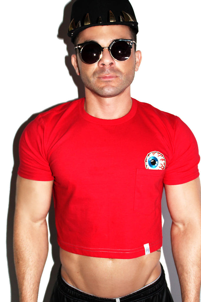 Eye See You Crop Pocket Tee-Red