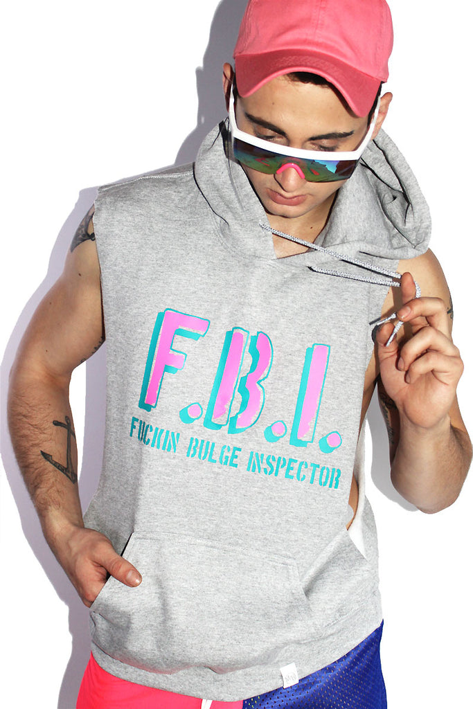 FBI Sleeveless Hoodie-Grey