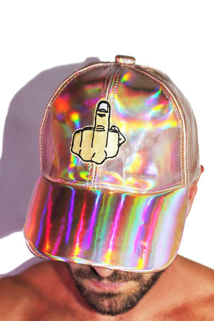 FU Metallic Dad Hat-Gold