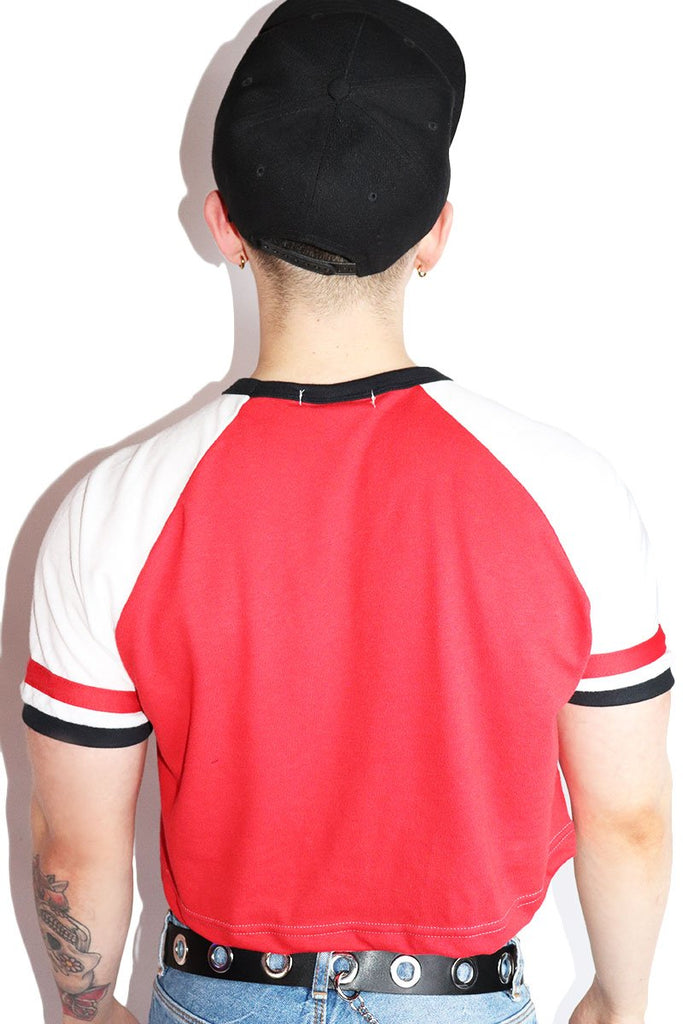 Fag Raglan Crop Tee-Red