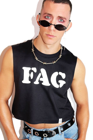 Fag Crop Tank- Black